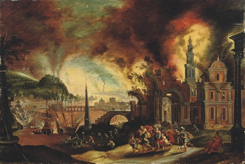 under troy daniel-van-heil-aeneas-carrying-his-father-anchises-from-the-burning-city-of-troy
