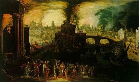 under troy kerstiaen-de-keuninck-aeneas-and-his-family-fleeing-the-burning-city-of-troy